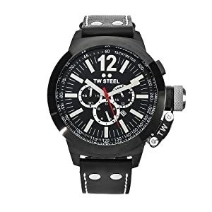 TW Steel Men's CE1034 CEO Canteen Black Leather Chronograph Dial Watch
