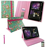 Emartbuy® Hot Pink Stylus + Universal Range Green Rose Garden PU Leather Multi Angle Executive Folio Wallet Case Cover With Card Slots Suitable for HP Slate 10 HD