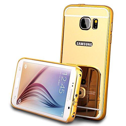 Kapa Luxury Mirror Effect Acrylic back + Metal Bumper Case Cover for Samsung Galaxy S6 Edge - Gold