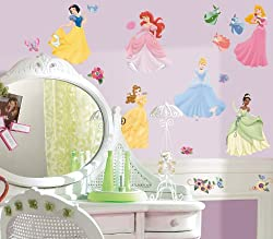 Ariel Disney Princess Mega Decal Pack - Includes 1 Giant Ariel Wall Decal (14 Pieces) and 37 Wall Decals with 50+ Peel and Stick Gems