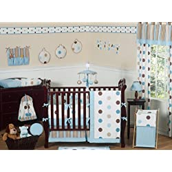 Sweet Jojo Designs Contemporary Blue and Brown Modern Polka Dot Boy or Girl Unisex Gender Neutral Baby Bedding 9pc Crib Set