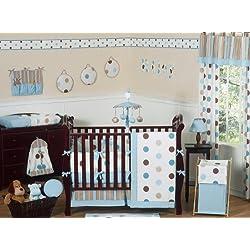 Sweet Jojo Designs Contemporary Blue and Brown Modern Polka Dot Boy or Girl Unisex Gender Neutral Baby Bedding 9pc Crib Set