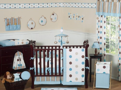 JoJo Designs 9-Piece Baby Crib Bedding Set - Blue and Brown Modern Polka Dots