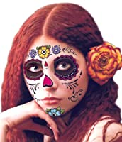 Floral Day of the Dead Sugar Skull Temporary Face Tattoo Kit - Pack of 2 Kits from Savvi
