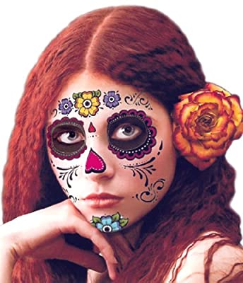 Floral Day of the Dead Sugar Skull Temporary Face Tattoo Kit - Pack of 2 Kits from Temporary Tattoos
