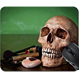MSD Mousepad Mouse Pads/Mat design 26518937 Weathered human skull with makeup brush and cosmetics