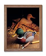 Making Mallard Wood Duck Decoy Animal Wildlife Home Decor Wall Picture Oak Framed Art Print