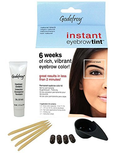Godefroy instant eyebrow tint permanent eyebrow color kit - Natural Black by Godefroy (Innovative Creme Developer compare prices)