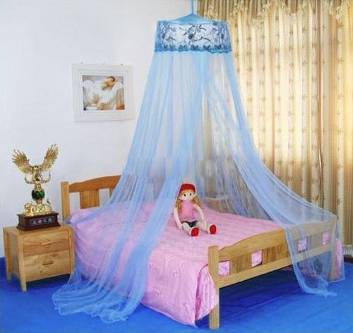 Housweety New Round Sequins Curtain Dome Bed Canopy Netting Mosquito Net (Blue)