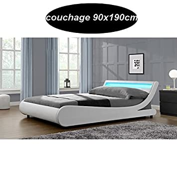 Cama Saturno, 90 x 190 cm, incluye somier con led, color blanco