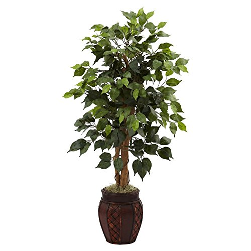 Nearly Natural 4 ft. Ficus Silk Tree with Decorative Planter (Nearly Natural 4 Feet Ficus compare prices)