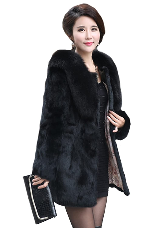 queenshiny Damen 100% Echte Kaninchen Pelz Lang Mantel Jacke Mit Fuchs Pelz Kragen Winter günstig kaufen