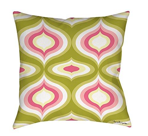 Thumbprintz Square Throw Pillow, 16-Inch, Britney Geo, Green front-482172