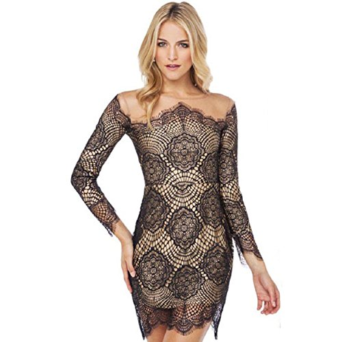 Aokdis Sexy Women Long Sleeve Bandage Bodycon Lace Party Cocktail Mini Dress (L)
