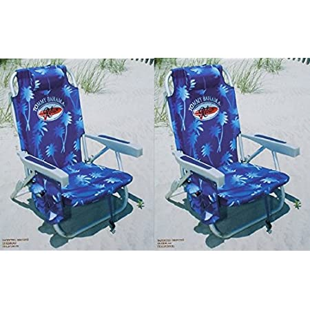 2 Tommy Bahama 2015 Backpack Cooler Chair with Storage Pouch and Towel Bar- blue