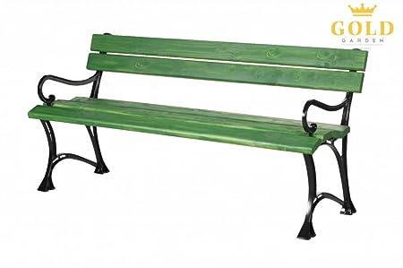 Oro Garden Banco de jardín con reposabrazos Toskana Madera Maciza En Marco de Aluminio Verde en 2tamaños