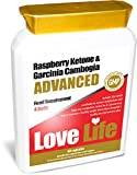 LOVE LIFE Raspberry Ketone & Garcinia Cambogia Advanced (Powerful Combination of Raspberry Fruit Extract, Green Coffee, Chlorogenic Acid, Green Tea, Garcinia Cambogia, Cayenne, Cacao and Zinc!) 4 Daily 15 Day Supply 60 Capsules Premium GMP Supple