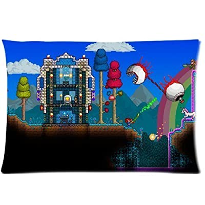 Custom Terraria Game Zippered Throw Pillow Cover Cushion Case Covers Two Sides 16x24 Rectangle Pillowcase