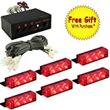 DIYAH 18 LED High Intensity LED Law Enforcement Emergency Hazard Warning Strobe Lights For Interior Dash Windshield With Suction Cups (Red)