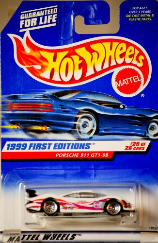 1999 - Mattel - Hot Wheels - First Editions - Porsche 911 GT1-98 - #25 of 26 - Collector #676 - White w/ Racing Graphics - 1:64 Scale Die Cast - New - Out of Production - Limited Edition - Collectible