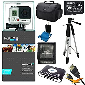 """GoPro HERO3+ HD Action Camera Silver Edition Adventure Kit includes: HERO3+ Camera Silver Edition, 59"""" Full Size Photo / Video Tripod, Carry Case, 64GB SDXC Memory Card, Memory Card Wallet, HDMI to Micro-HDMI Cable, 3pc. Lens Cleaning Kit, & Card reader"""
