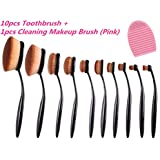[Updated Version] Lookatool 2016 High Quality 10pcs Soft Oval Foundation Makeup Brush Sets Powder Blusher Toothbrush...