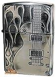 ZIPPO ファイヤーギター SV 銀いぶし 表裏異柄 両面加工 ジッポーライター