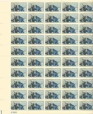 Civil War Gettysburg Sheet of 50 x 5 Cent US Postage Stamps NEW Scot 1180