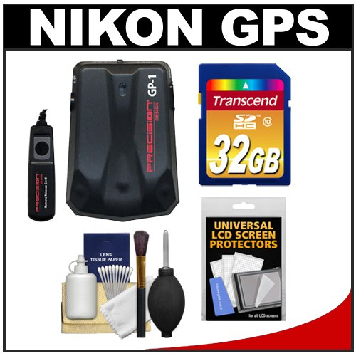 Precision Design GP-1 GPS Geotag Adapter Unit & Shutter Cord with 32GB Card + Accessory Kit for Nikon D7100, D7000, D5300, D5200, D5100, D3300, D3200, D3100, D800E, D800, D610 Digital SLR Cameras