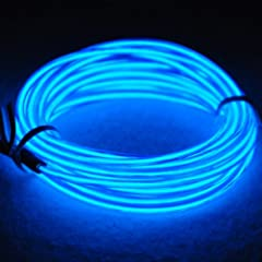 15ft Neon Light El Wire w/ Battery Pack for Parties Halloween Decoration (blue)