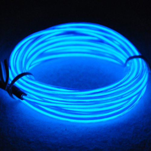Lychee® 15ft Neon Light El Wire w/ Battery Pack for Parties, Halloween Decoration (blue)