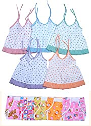 Sathiyas Baby Girls Dresses and Nappy (Pack of 10)