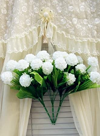 Sweet Home 14'' Three Hydrangea Chrysanthemum Silk Artificial Flower Bushes (6-stem, 9 Flower Heads)