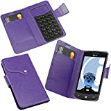 ITALKonline LG E900 Optimus 7 Purple Super Slim PU Leather Executive Multi-Function Wallet Case Cover Organiser Flip with Credit / Business Card Holder - Suction Pad Design