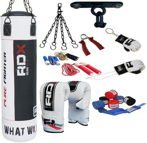 RDX 9P Boxing Set 5ft Filled heavy Professional Punch Bag set,Gloves,Bracket MMA Pad, 5ft Punch bag set