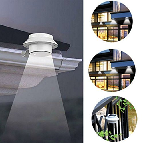 LED Solar Powered Fence Gutter Light Outdoor Garden Yard Wall Pathway Lamp White + Bracket (Led Clip On Spot Light compare prices)
