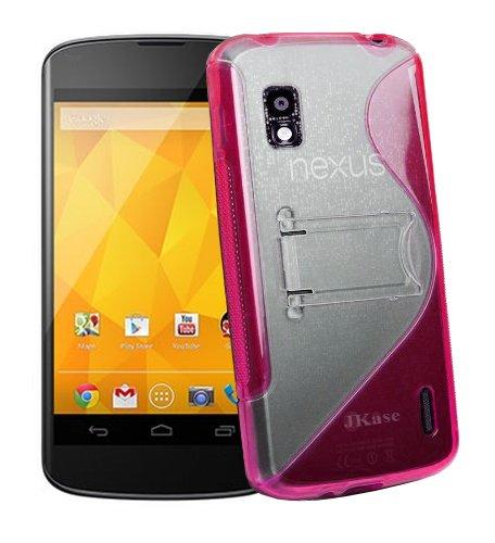 Jkase Premium Quality Lg Google Nexus 4 E960 Duoblo Tpu Hard Stand Case Cover - Retail Packaging - Pink
