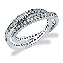 buy 18K White Gold Diamond 2 Band Rolling Ring (1.0 Cttw, F-G Color, Vs1-Vs2 Clarity) Size 4