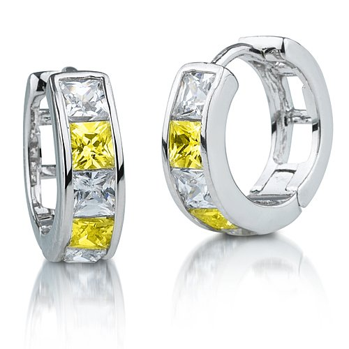 Princess Canary and White Diamond CZ Sterling Silver Huggie Hoop Earrings