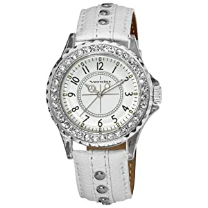Vernier Women's VNR11104WHT Clear Plastic Case Crystal Stones Around Bezel Watch