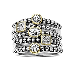 S&G Sterling Silver and 14k Yellow Gold Stacked Diamond Ring (0.02 cttw, I-J Color, I2-I3 Clarity), Size 9