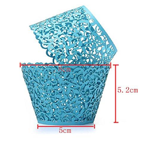 niceEshop(TM) Taza Papel Envoltorio del Trazador de Líneas de Pastel Cupcake (Azul)