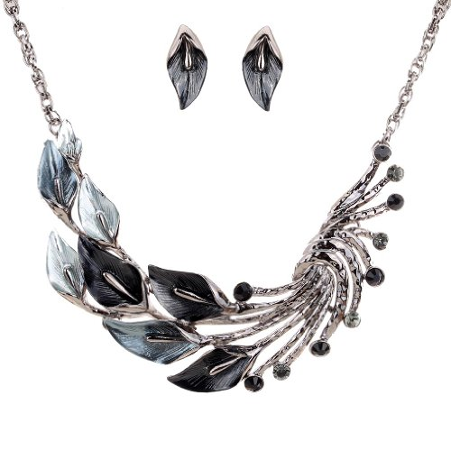 Yazilind Ethnic Style Tibetan Silver Black Peacock Crystal Chunky Bib Earrings Necklace Jewerly Set Wedding Party