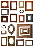 20 tlg. Set - Wandtattoo / Sticker - als Fotorahmen und Bilderrahmen - z.B. für Foto´s und Bilder - Wandsticker Aufkleber selbstklebend nostalgisch Holzrahmen