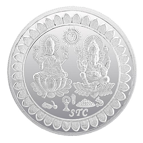 925 Silver Sterling-Silver 99.5 Silver Purity 10 Gram Laxmi Ganesh Silver Coin (White)