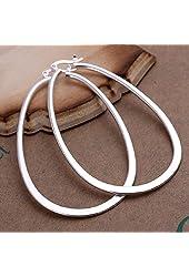 Elegant Fashion Jewelry 925 Silver Plated Stud Dangle Earings Eardrop Big Skeleton Flat U