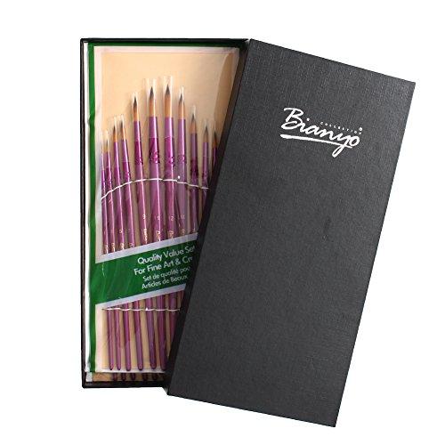 Bianyo Art Brush Set-24 Piece Golden Nylon Hair Purple Wooden Handle Artist Paint Brushes for Acrylic, Oil, Watercolor, Gouache .