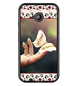 PrintDhaba Butterfly D-3080 Back Case Cover for MOTOROLA MOTO E2 (Multi-Coloured)
