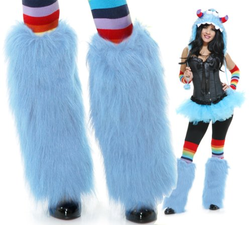 Charades Adult Rave Monster Costume Furry Blue Leg Warmers