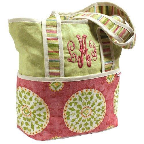 Hoohobbers Tote Diaper Bag, Pink Medallion